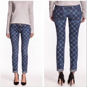 Current/Elliott Indigo Rose Lattice Skinny Jean